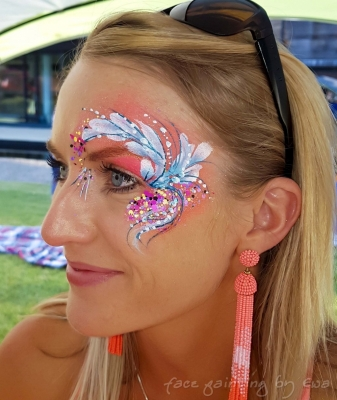 adults face paint flowery eye design Newport Shropshire