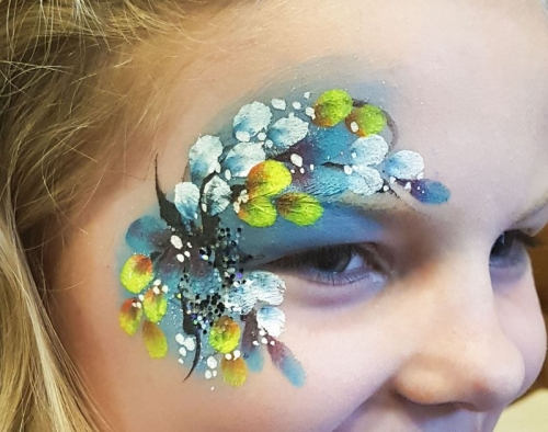 flowery eye design face paint Shropshire