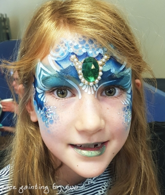 mermaid face paint with gem Newport Shropshire