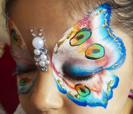 one stroke butterfly face paint Telford
