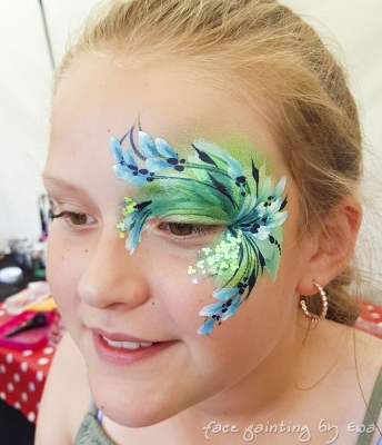 summer fair face painting green flowers Stafford