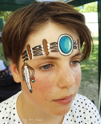 summer fair face painting native indian american girl Telford
