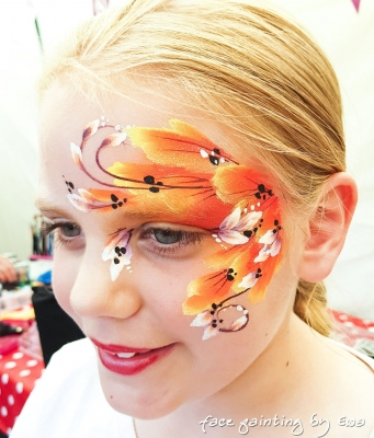 summer fair face painting orange flowers Stafford